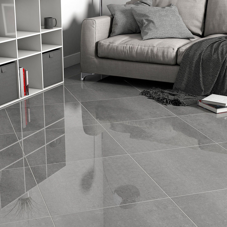 Imperiali Anthracite Porcelain Floor Tile Pack Of 3 L 600mm W