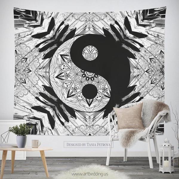 Bohemian Tapestry Ying Yang Black White Mandala Wall Art Print Boho Wall Decor Balance Mandala Art Tapestry Bohemian Wall Tapestry Mandala Wall Art Tapestry
