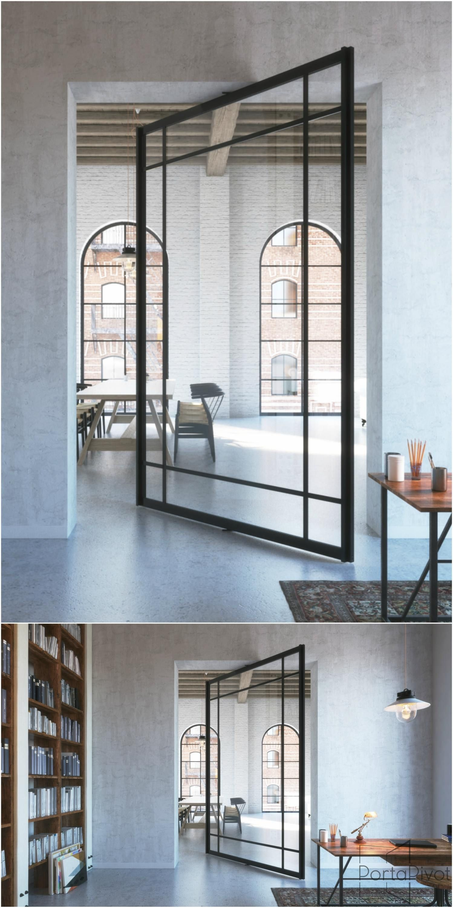 Glass and aluminium pivot door with central axis pivoting hinge ...