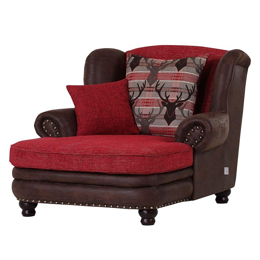 ohrensessel chamonix xxl antiklederlook dunkelbraun webstoff rot wohnen. Black Bedroom Furniture Sets. Home Design Ideas