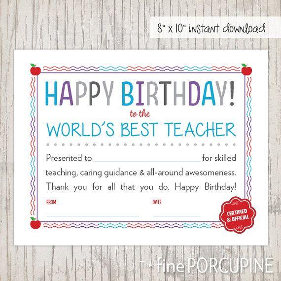 Teacher Birthday Birthday Certificate For Teacher Etsy Happy Birthday Teacher Teacher Birthday Birthday Certificate