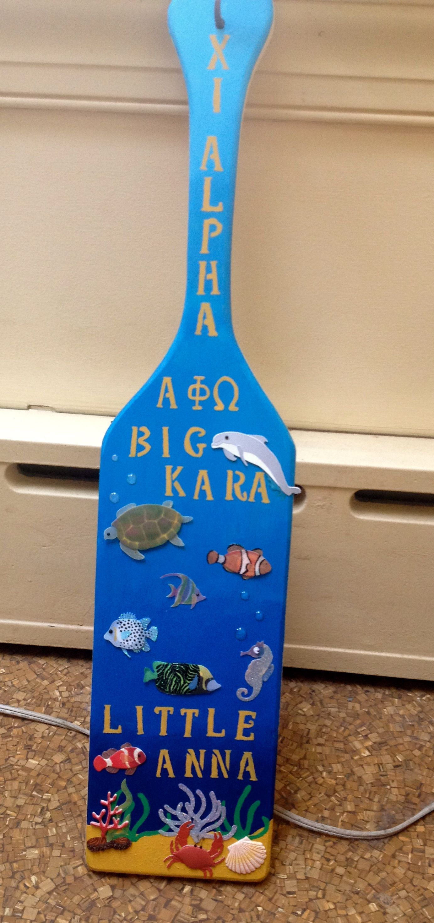 Alpha Phi Omega Paddle For My Big Under The Sea Themed Sorority Paddles Alpha Phi Omega Greek Paddles