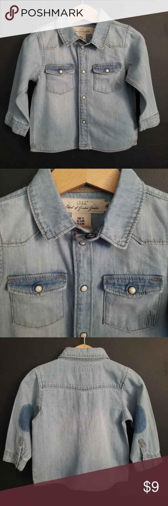 9802c177a951c 6 9M Boys H M Denim Jeans Shirt ☆Excellent condition ☆Clean