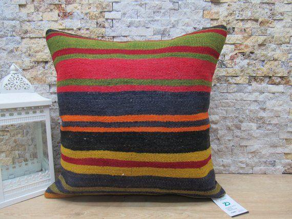 Turkey Pillow Handmade Anatolian 20x20 Decorative Boho Kilim C