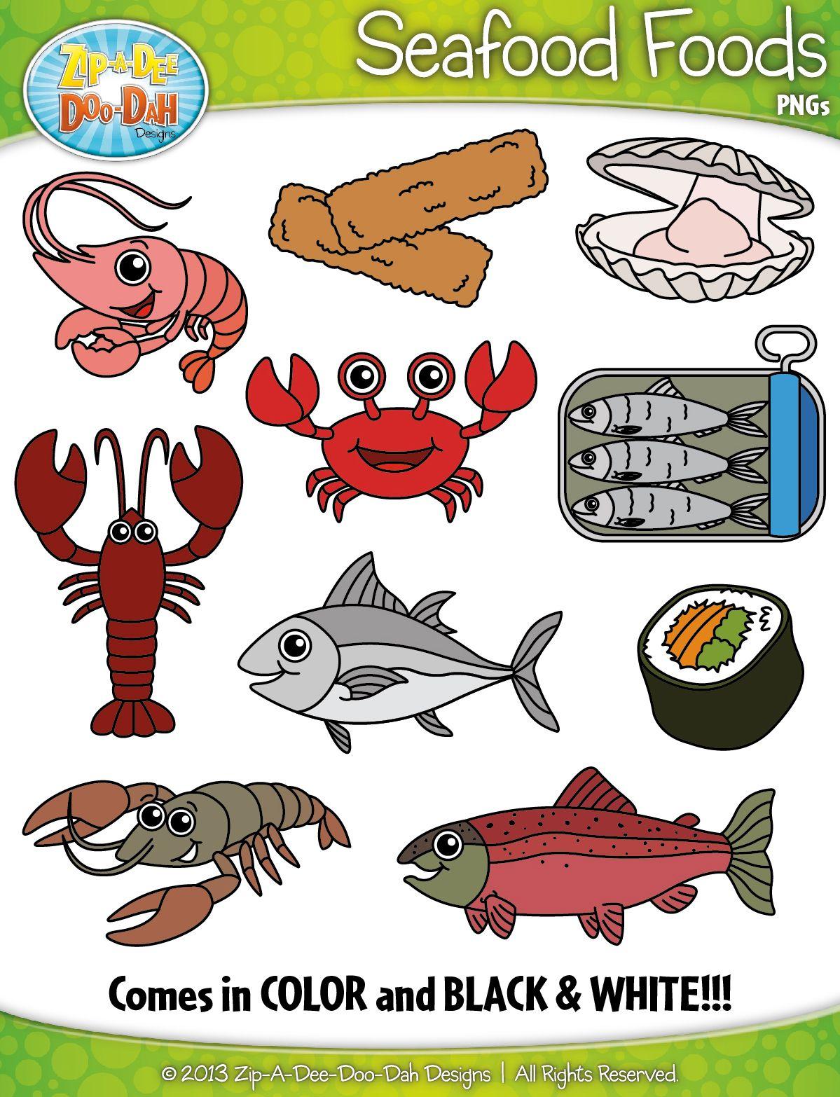 Seafood Foods Clipart Zip A Dee Doo Dah Designs