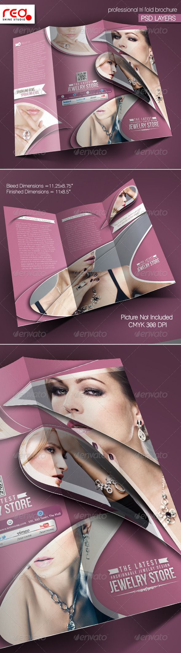 Jewelry Shop Trifold Brochure Template    Brochure Template
