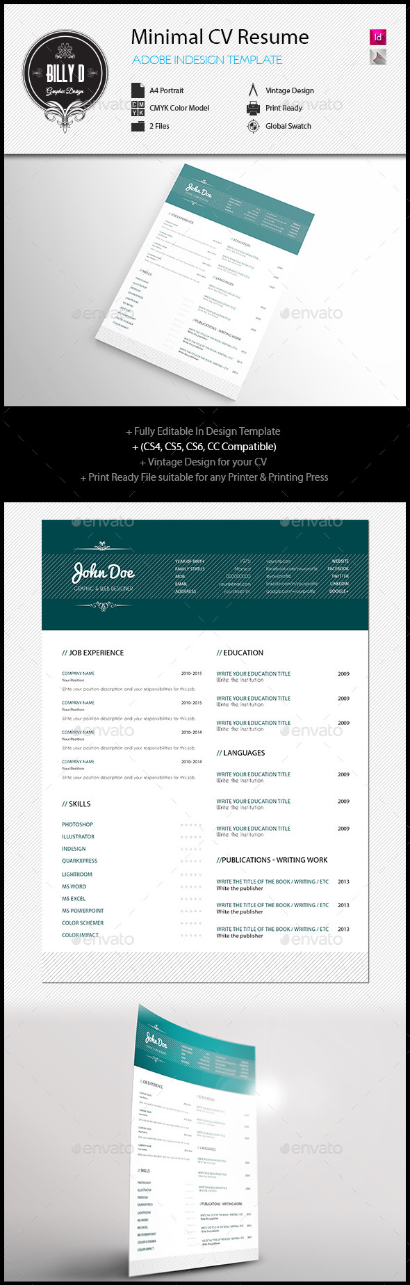 Minimal cv resume template indesign indd download here http minimal cv resume template indesign indd download here httpgraphicriver yelopaper Images