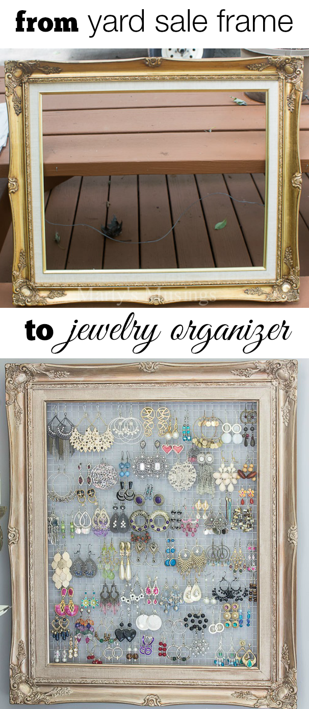 DIY Framed Jewelry and Earring Organizer Hang necklaces Diy frame