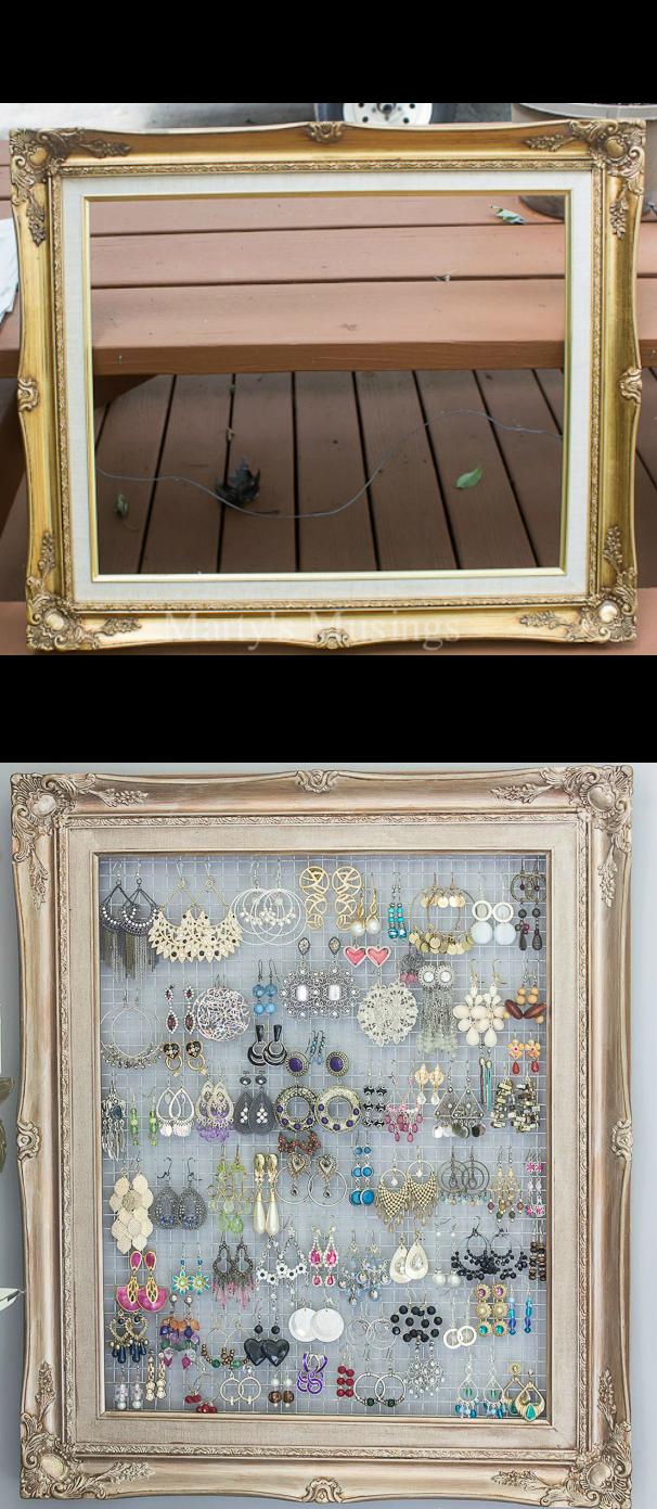 DIY Framed Jewelry and Earring Organizer | Bastelei, Umkleideraum ...