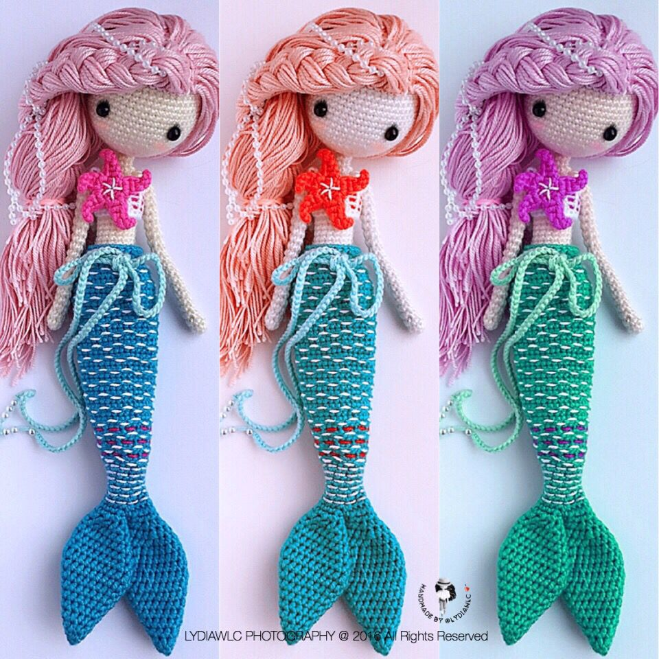 Three different match colors mermaid ava crochet - Munecos a ganchillo patrones ...