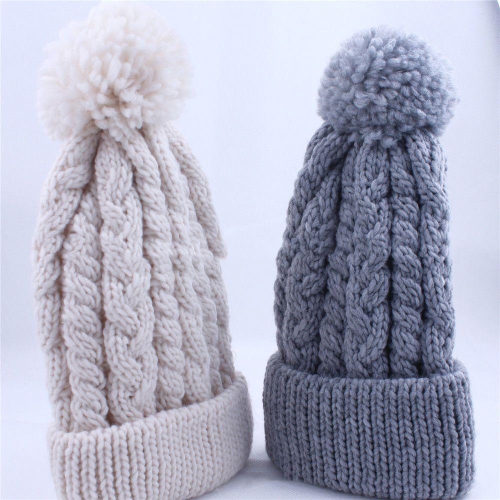 Winter Unisex Women Men Warm Hat Wool Ball Knit Comfortable Cap
