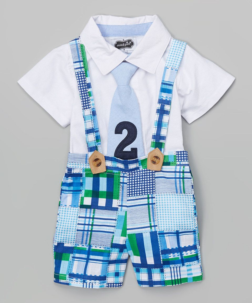 Mud pie blue green plaid im two suspender shorts set