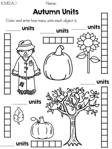 Autumn Units Measure Objects By Coloring Number Of Units Part Of The Autumn Kin Thanksgiving Math Worksheets Kindergarten Math Worksheets Math Worksheets