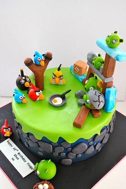 Marvelous Angry Birds Cake Bolo De Aniversario Criancas Funny Birthday Cards Online Sheoxdamsfinfo