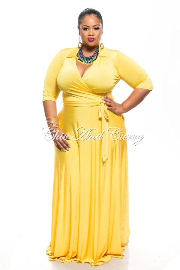 53dd9ab0775 New Plus Size Long Wrap Dress with Pockets