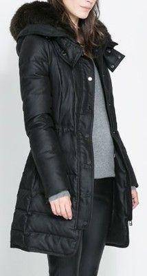 Zara Czarny Puchowy Plaszcz Kaptur Futerko 38 M 6723867730 Oficjalne Archiwum Allegro Fashion Long Length Coat Clothes
