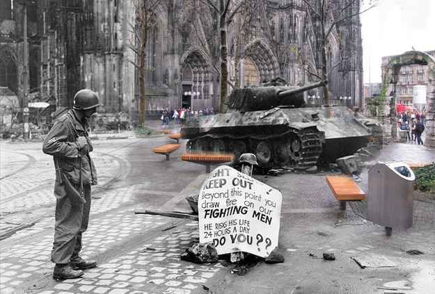 Dom Cathedral, Cologne, March 1945. | 26 Ghostly Images Of World War Two, Blended With The Present