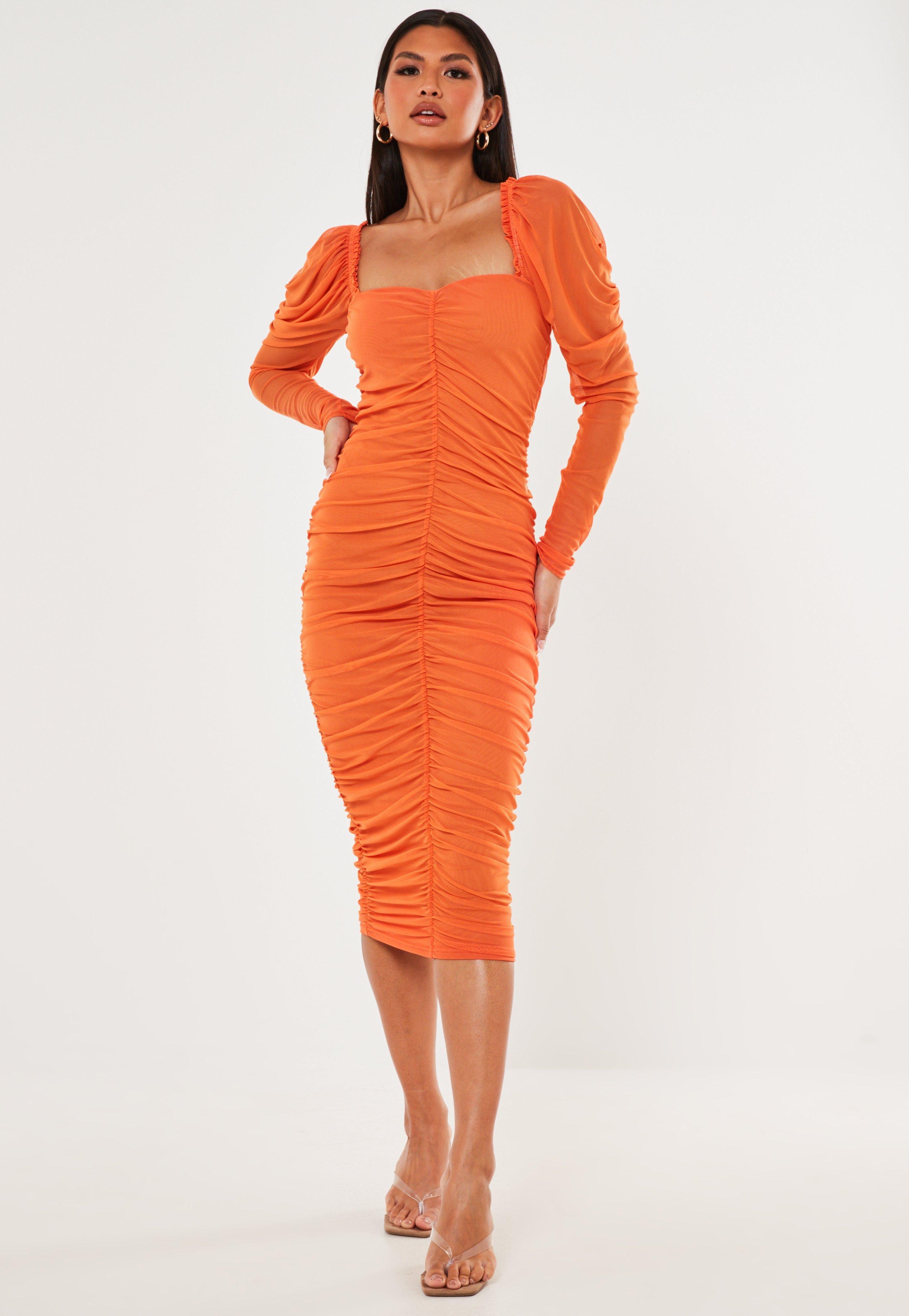 Missguided Orange Ruched Milkmaid Mesh Midaxi Dress Fashion Inspo Outfits Dresses Fashion [ 4200 x 2900 Pixel ]
