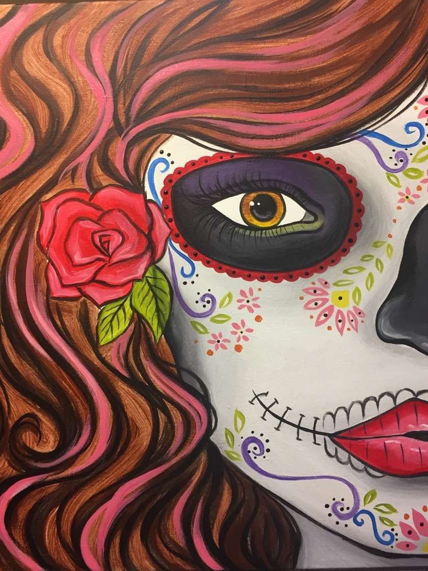 Pin By Norma Castro On Pinot S Palette Of The Woodlands Paintings Sugar Skull Art Painting Pinots Palette Paintings Sugar Skull Painting