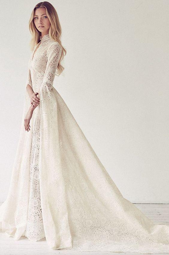 Wedding dress inspiration suzanne harward dress ideas for Long sleeve turtleneck wedding dress