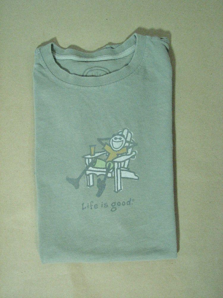 Life Is Good Green T Shirt Jake Lounge Chair M 100 Cotton Short Sleeve Lifeisgood Graphictee Mens Tshirts Cool T Shirts Cool Shirts