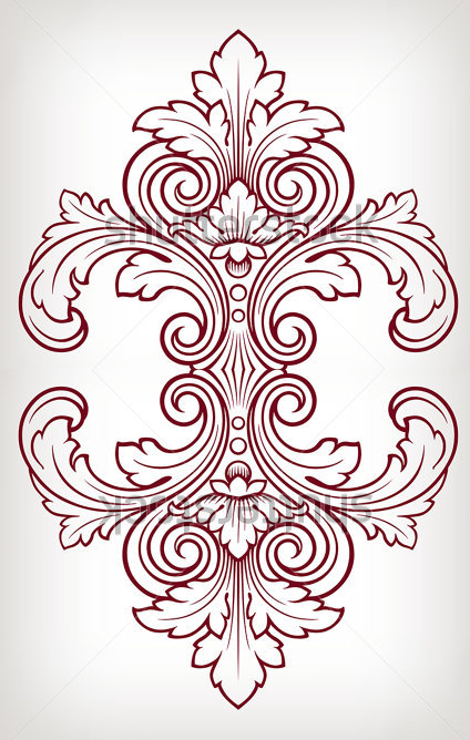 Baroque Damask Stencil Designs Baroque Pattern Art