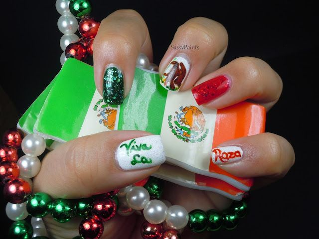Mexican Flag Nails By Sassypaints Sassy Paints Nails Beauty