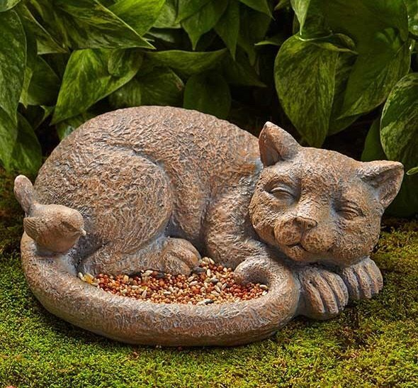 Sleeping Cat Bird Feeder Garden Statue