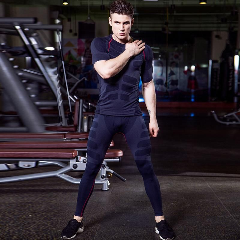 Men/'s Workout Compression Shirt Running Basketball Short Sleeve Wicking Spandex