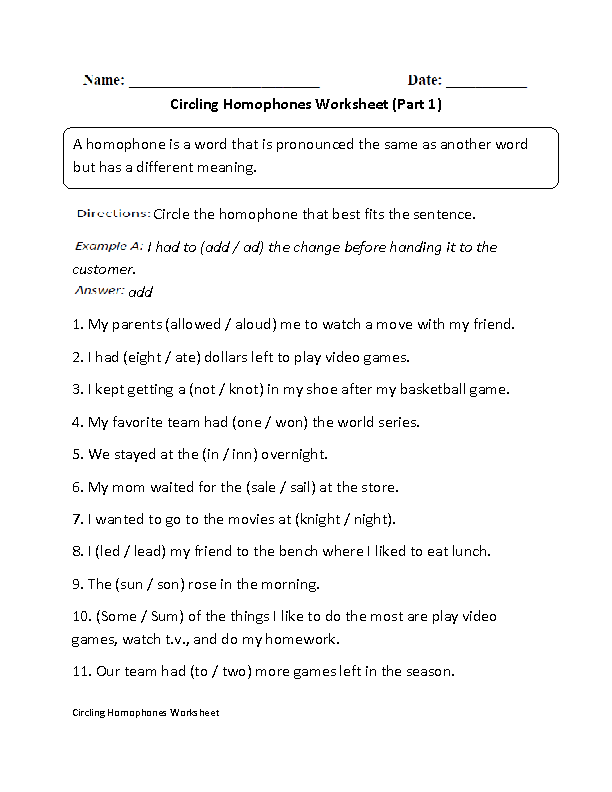 Circling Homophones Worksheet Part 1 | Englishlinx.com Board ...