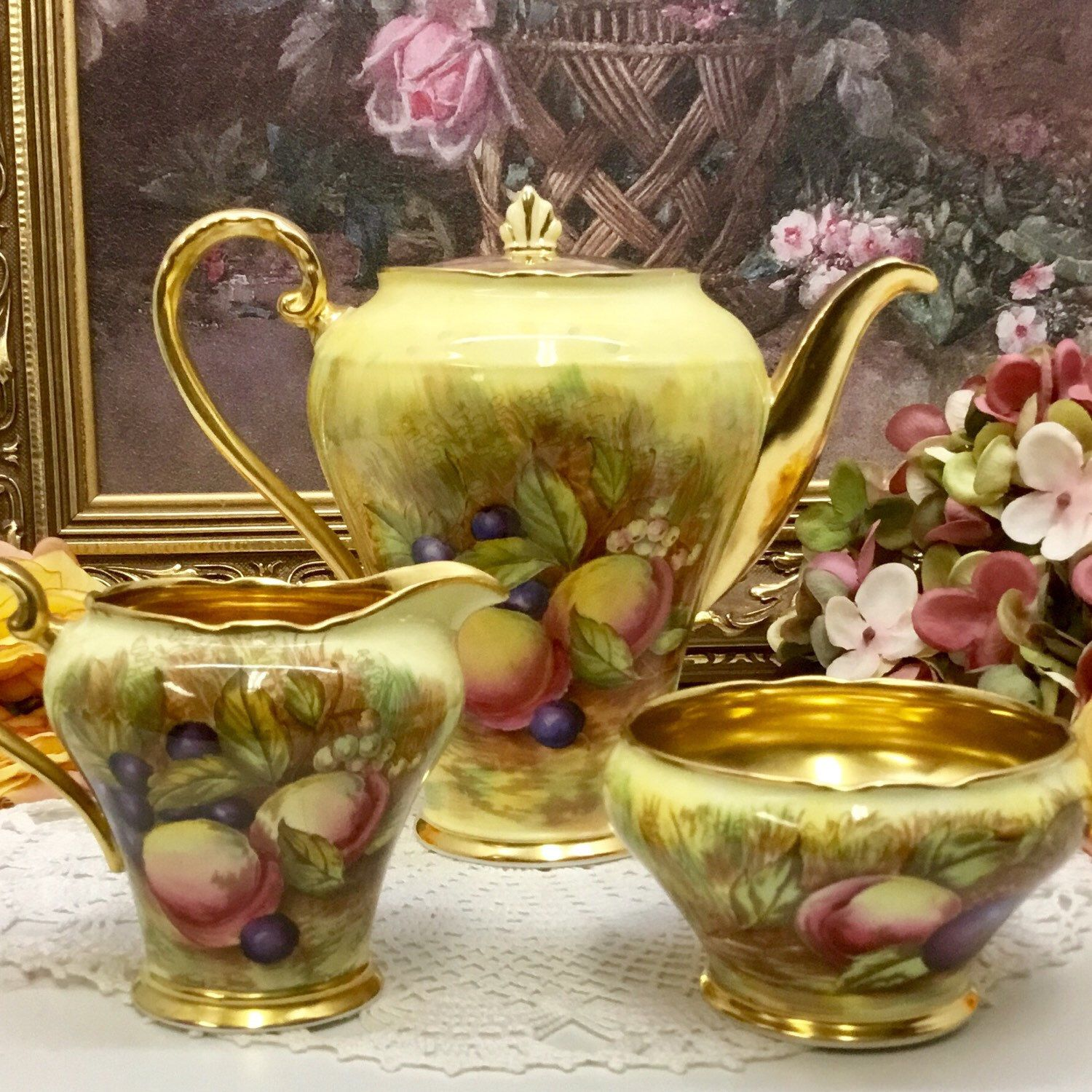 Aynsley Orchard Gold coffee pot with cream and sugar circa