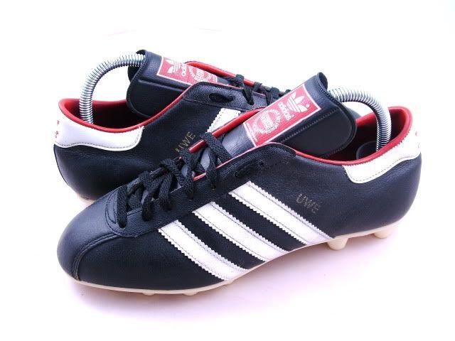 3478ba3e2 vintage ADIDAS UWE Football Boots 6 39+ rare 80s black leather 70s ...