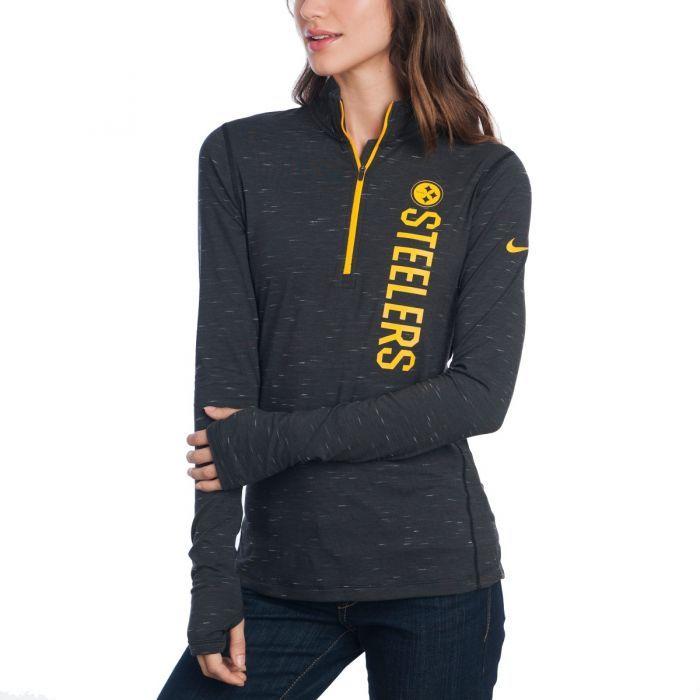 Pittsburgh Steelers Nike Women's Element 1/4 Zip Black Top