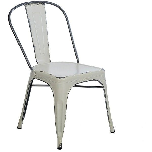 Distressed Ivory Metal Chair ($96) ❤ Liked On Polyvore Featuring Home,  Furniture,