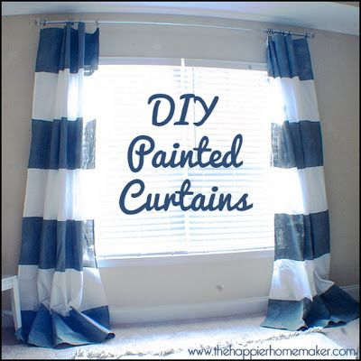 Dollar Store Crafter: Painted Striped Curtains