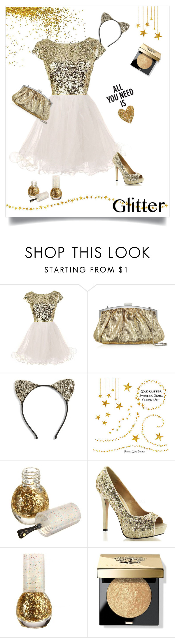 """""""Glitter and Sequin Contest"""" by prettypicture99 ❤ liked on Polyvore featuring Julia Cocco', Cara and Bobbi Brown Cosmetics"""