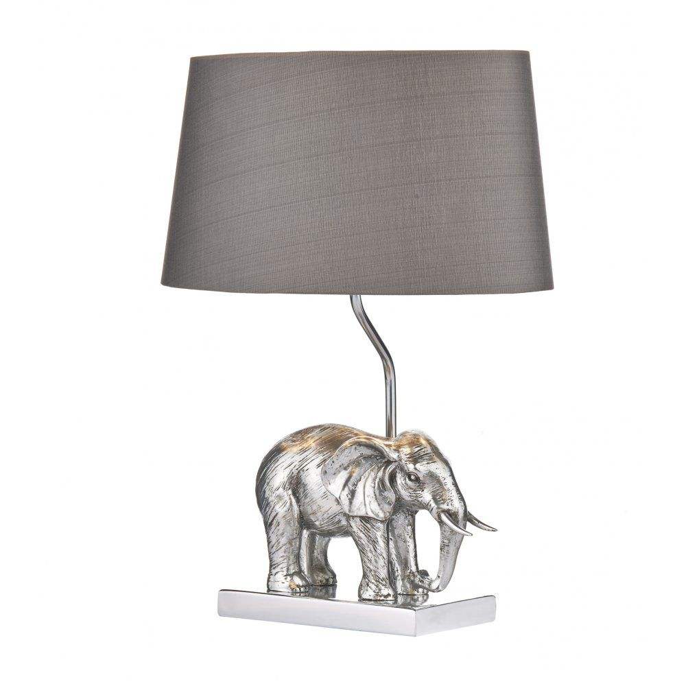 Beau Dar Lighting Enrique Single Light Elephant Table Lamp In Antique Silver  With Grey Shade
