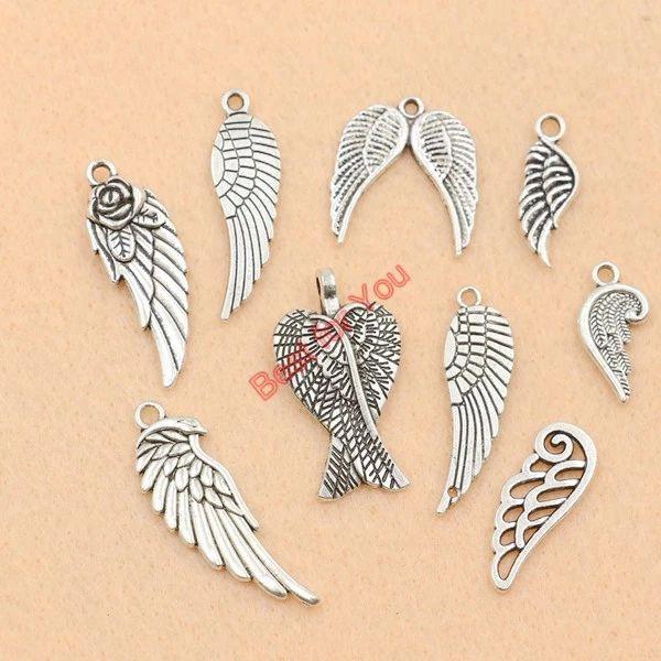 40pcs Tibetan Silver Angel Wings Charms Pendants DIY Crafts Jewelry 10x19mm