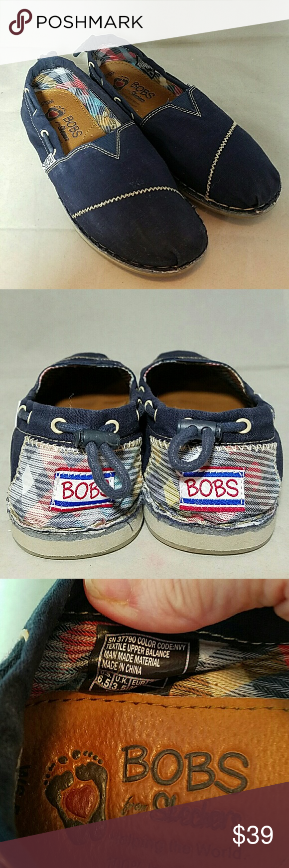 Bobs For Skechers Sz 65 Chill Navy Blue Loafers Flash  Olivia Sneakers