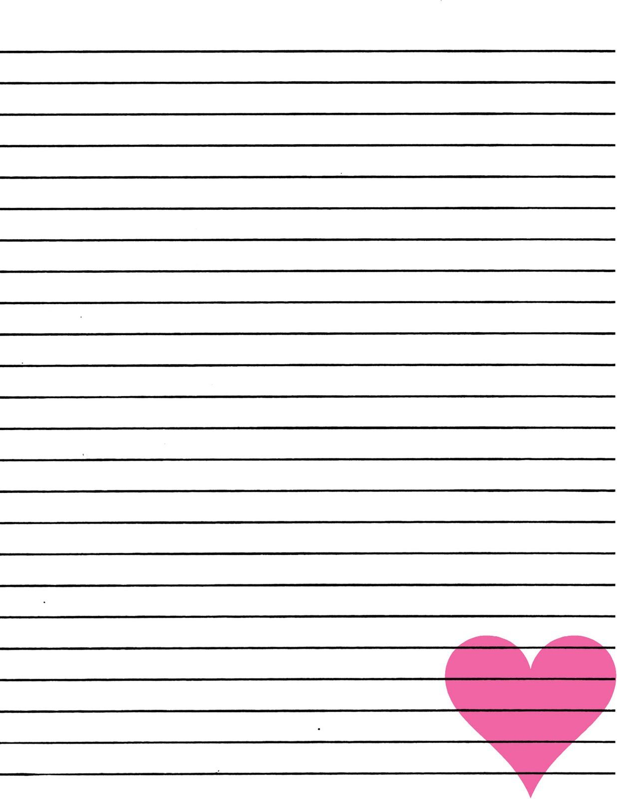 Just Smashing Paper FREEBIE Pink heart lined paper printable – Lined Paper Template