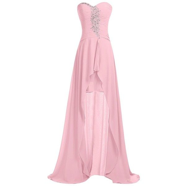 Sunvary Strapless Homecoming Dress Hi-Lo Sweetheart Pleated Chiffon... ($75) ❤ liked on Polyvore featuring dresses, gowns, strapless gown, high low gown, hi low dress, high low homecoming dresses and pink ball gown