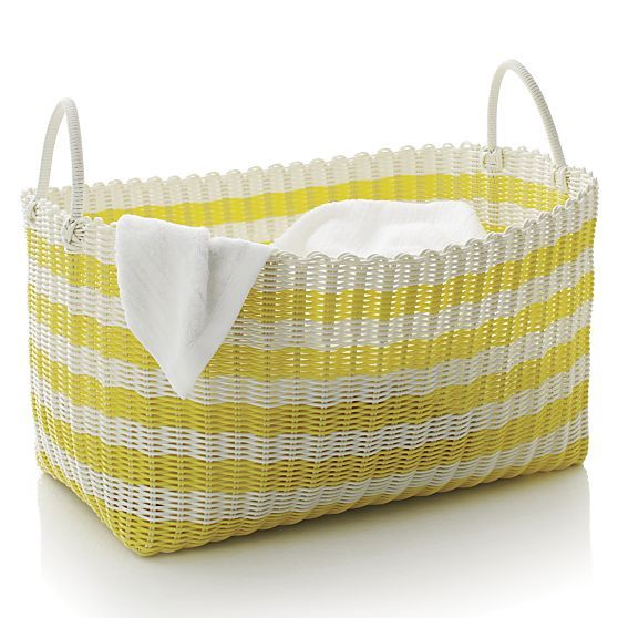 Yellow White Stripe Laundry Hamper In Laundry Crate And Barrel