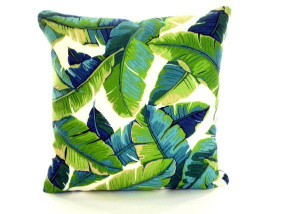 Outdoor Tropical Green Aqua Navy Palms Pillow Covers Throw Pillow