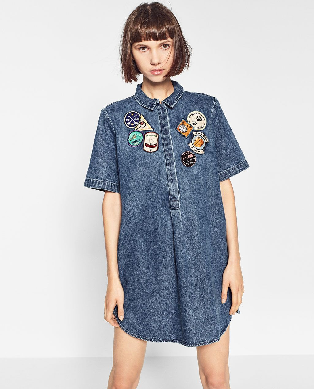 fa84f65c4e PATCH DENIM DRESS-DRESSES-TRF