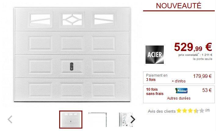 Porte de garage sectionnelle à cassette ASLAN avec fenêtres pas cher - prix baignoire a porte