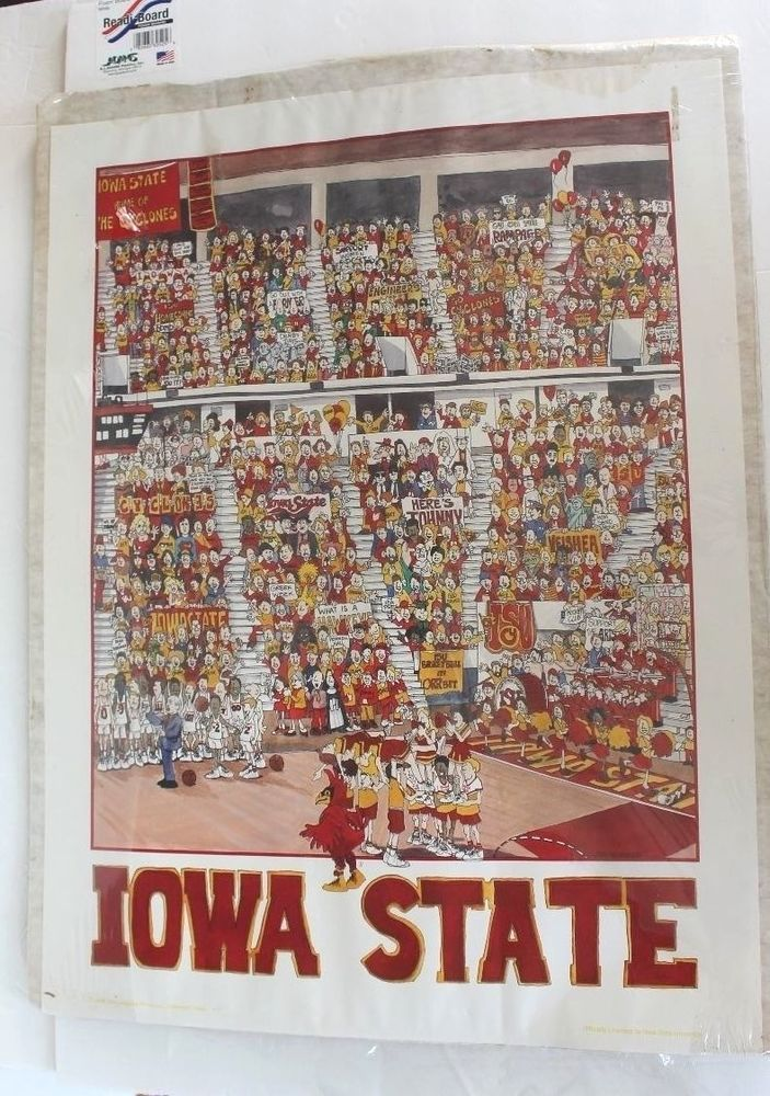 6edad2fca92 Vintage Iowa State Cyclones Poster John Holladay Basketball Sports Fan Gift…