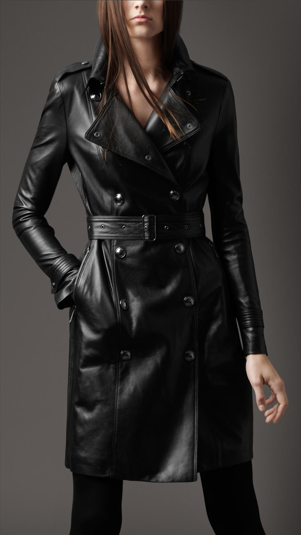 Burberry-London-women-ribbed-panel-leather-trench-coat- | FASHION ...