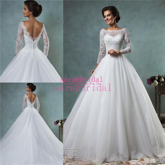 2016 Spring Amelia Sposa Princess Style Cinderella A Line Ball Bridal Gowns Cheap Lace Sheer Long