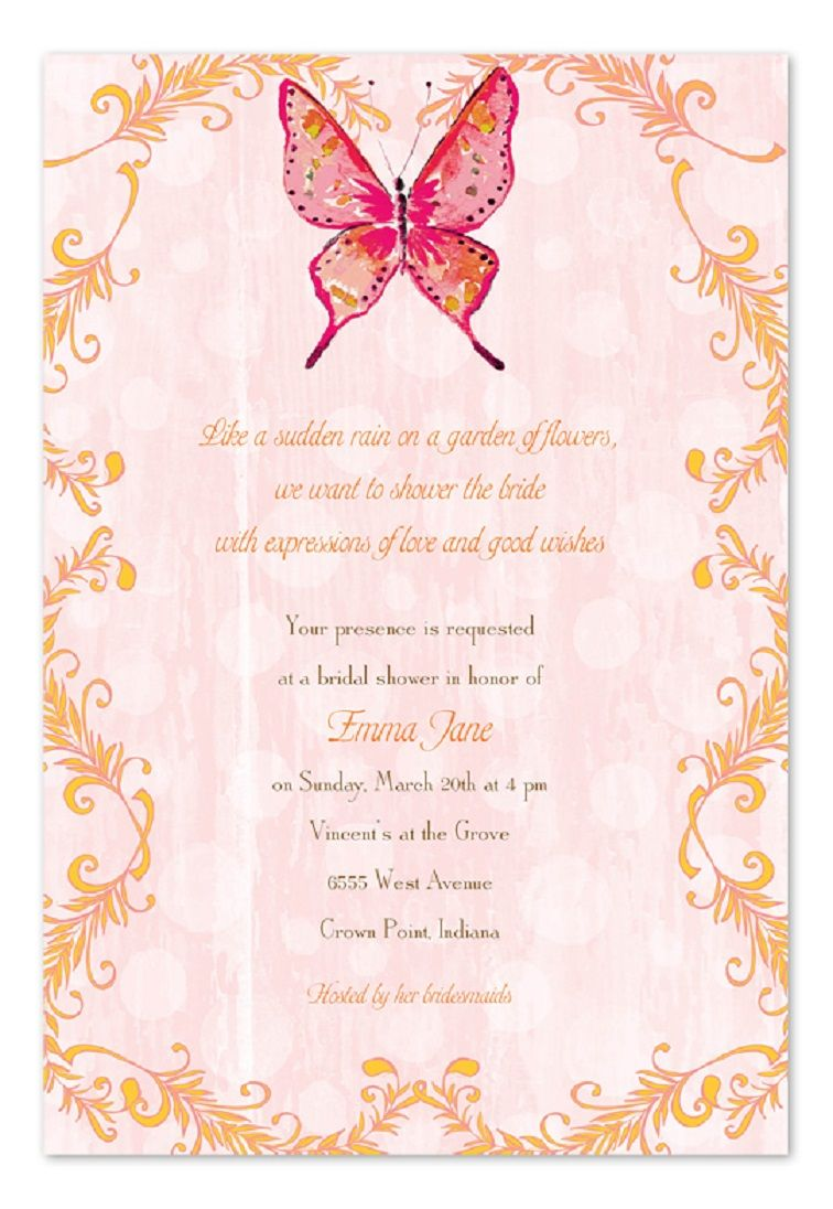 Butterfly Birthday Party Invitation Wording