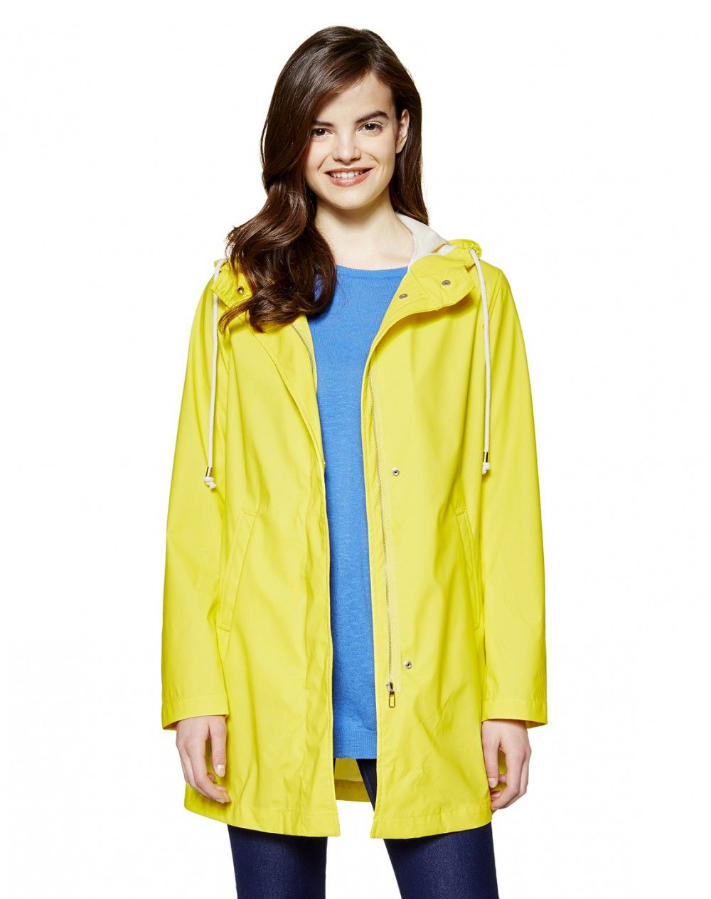 d4e877e57 Lightweight waterproof waxed jacket, hood with clashing color non-removable  drawstring. Long sleeves, two welt pockets at front, hidden double closure  with ...
